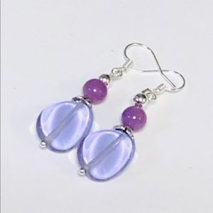 Light Orchid Glass & Mother-of-Pearl Earrings
